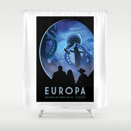 Europa - NASA Space Travel Poster Shower Curtain