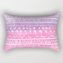 Geometric hand drawn abstract white aztec modern summer pink purple coral ombre watercolor pattern Rectangular Pillow