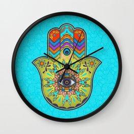 Colorfull  Hamsa Hand with paisley Wall Clock