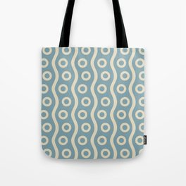 Mid Century Modern Rising Bubbles Pattern 2 Blue and Cream Tote Bag