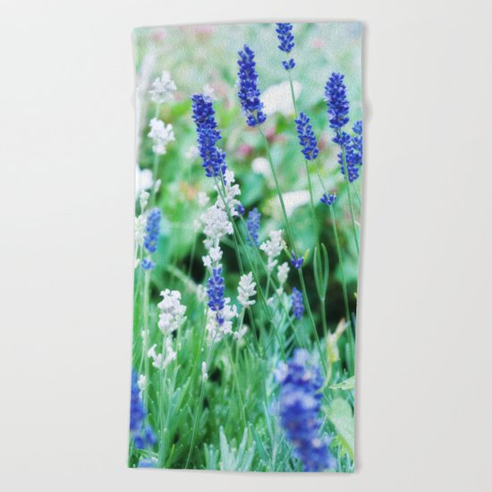 White & Blue Lavender Dream #1 #art #society6 Beach Towel