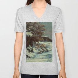 "Gustave Courbet ""Effet de neige (Snow Effect)"" Unisex V-Neck"