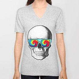 Psychadelic Skull Tiedye glasses Unisex V-Neck