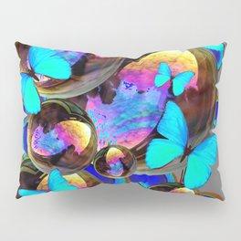 BLUE & GOLD  BUBBLES BLUE BUTTERFLIES PEACOCK EYES Pillow Sham