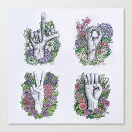 LOVE ASL Art- square version Canvas Print