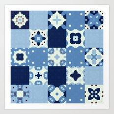 Aqua Blue Abstract Floor Tile Pattern Art Print