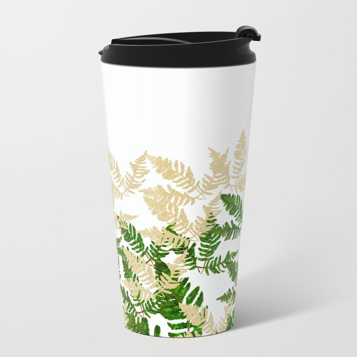 PALM LEAF FERN LEAF TROPICAL Metal Travel Mug