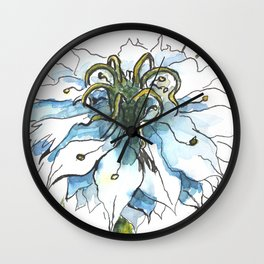 Nigella watercolor beautiful flower, nature Wall Clock