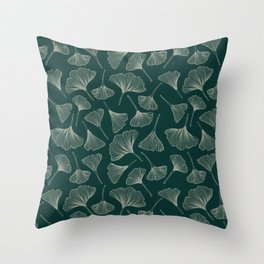 Ginkgo Leaves green Throw Pillow