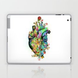 Flowers colorful heart watercolor Laptop & iPad Skin