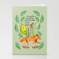 sayings Stationery Cards featuring Every Fox...fox, sayings, typography, quote, nature, leaves by Slumbermonkey Designs