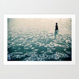 Lady in swimming pool Art Print