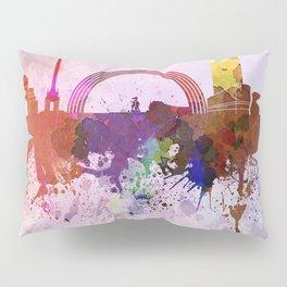 Kiev skyline in watercolor background Pillow Sham
