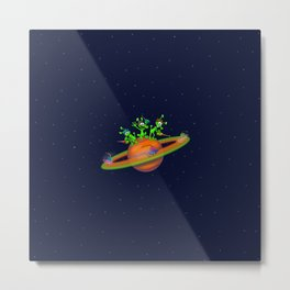 Three cute Martians playing a race in Saturn Metal Print