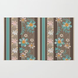 Retro . Turquoise and brown floral pattern . Rug
