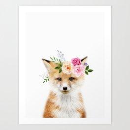 Baby Fox with Flower Crown Art Print