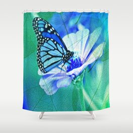 Butterfly, Flower And Leaves Shower Curtain