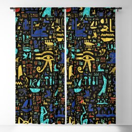 Colorful  Ancient Egyptian hieroglyphic pattern Blackout Curtain