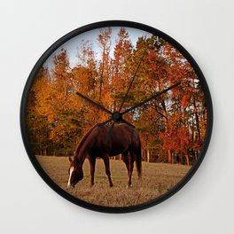 Horse Fall Days of Grazing Wall Clock