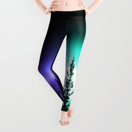Aurora Borealis Forest Leggings