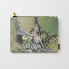 Cute little bird with funny pegasus Carry-All Pouch