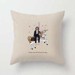 Girls on a unicorn carousel Throw Pillow