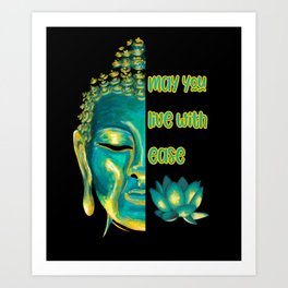 May You Live with Ease Lovingkindness Metta Buddhist Graphic Art Print