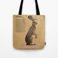 jackalope Tote Bags featuring Jackalope by Jordamn