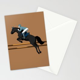 Jumping Black Horse and a Man Stationery Cards
