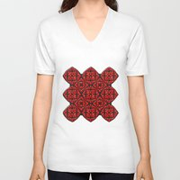 gothic V-neck T-shirts featuring Gothic Red by Peter Gross