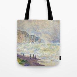 12,000pixel-500dpi - Claude Monet - Heavy Sea at Pourville - Digital Remastered Edition Tote Bag