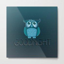 Goodnight Owl on a midnight starry sky Metal Print