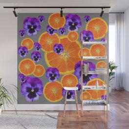 ORANGE SLICES & PURPLE PANSIES MODERN ART Wall Mural