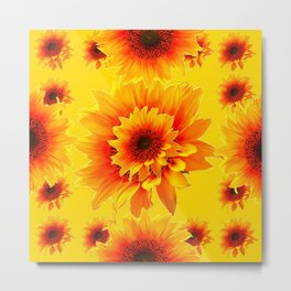 Golden Yellow Abstracted Red Sunflower Patterns Metal Print