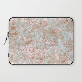 Mint Blush & Rose Gold Metallic Marble Texture Laptop Sleeve