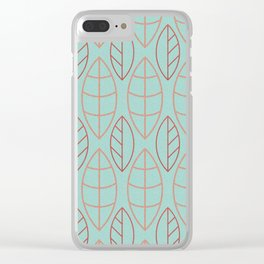 Art Deco Turquoise Background Red Copper Leaves Clear iPhone Case