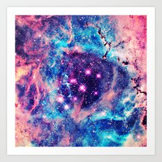 Trendy Pastel Pink Blue Nebula Girly Stars Galaxy Art Print