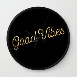 Good Vibes - Black and gold Wall Clock