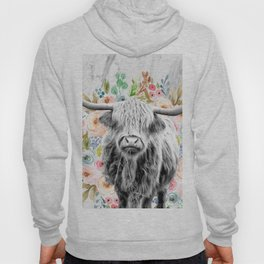 Highland Cow With Flowers on Marble Black and White Hoody