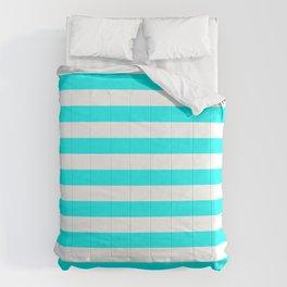 Narrow Horizontal Stripes - White and Aqua Cyan Comforters