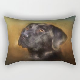 Black Lab Portrait Rectangular Pillow