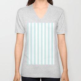 Narrow Vertical Stripes - White and Light Cyan Unisex V-Neck