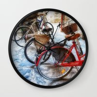 bicycles Wall Clocks featuring Bicycles by Elliott's Location Photography