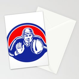 Baseball Catcher Oval Woodcut Stationery Cards