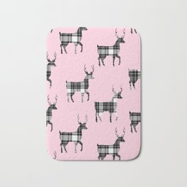 Plaid Bucks on Pink | Black and White Tartan  Deer | Renee Davis Bath Mat