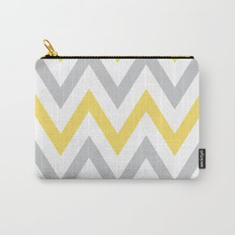 Gray & Yellow Chevron Carry-All Pouch