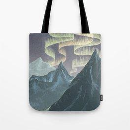 Mountains and Northern Lights Tote Bag