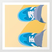 Looking down on my blue shoes Art Print