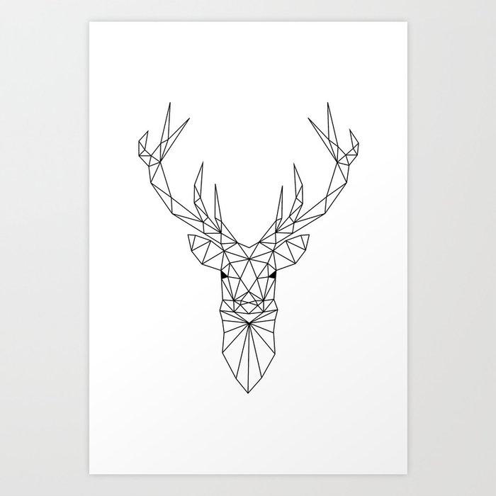 Geometric Deer Head Art Print by paintxprint | Society6