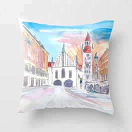 Munich Bavaria Marienplatz View of Old City Hall and St. Peter Throw Pillow